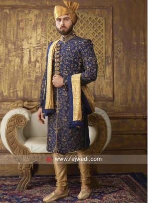 Blue Silk Fabric Sherwani For Wedding