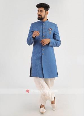 Blue Silk Indo-Western For Wedding