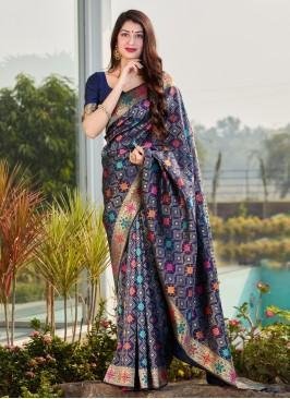 Blue Silk Weaving Traditional Saree