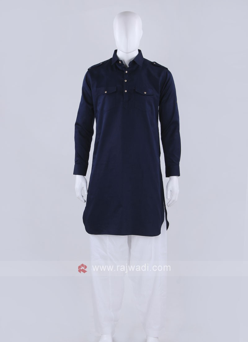 Blue Solid Pathani Suit