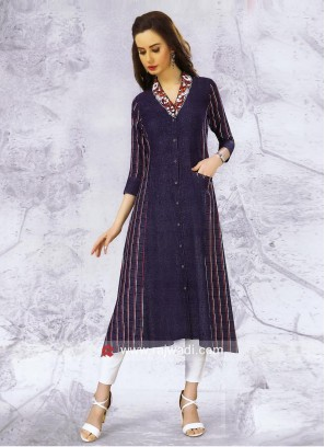 Blue Thread Work Printed Layer Kurti