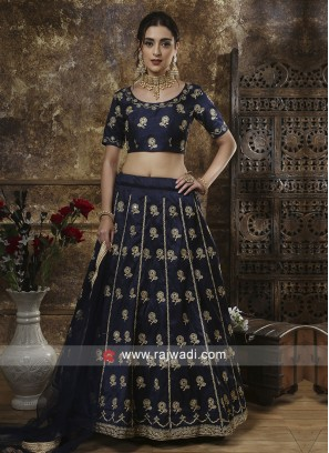 Blue Thread Work Wedding Lehenga