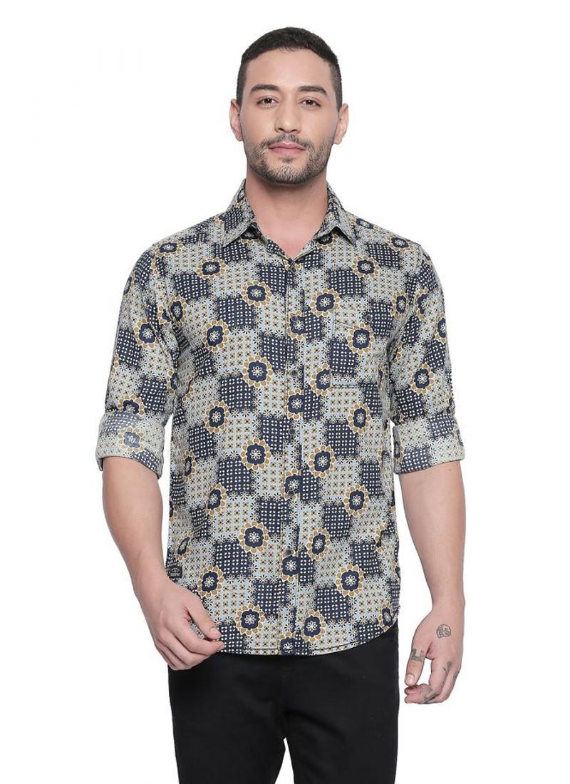 Blue Tribal Print Full Sleeves Shirt