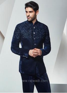 Blue Velvet Jodhpuri Suit