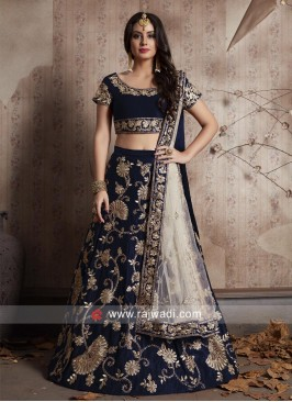 Navy Wedding Lehenga Set with Dupatta
