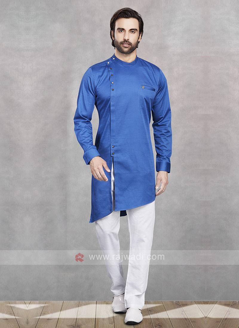 Blue & White Kurta Pajama For Men