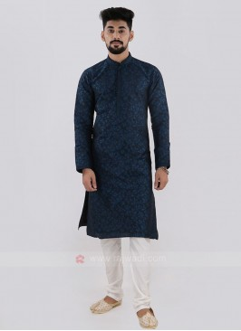 Blue & White Kurta Pajama For Men