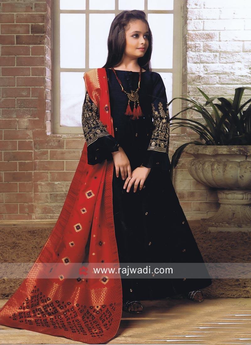 Blue Zari Work Anarkali Suit for Kids