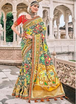 Bollywood Saree Resham Silk in Multi Colour