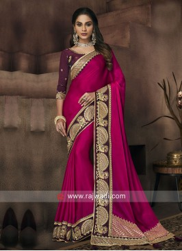 Border Work Art Silk Saree