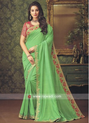 Border Work Designer Saree in Pista Green
