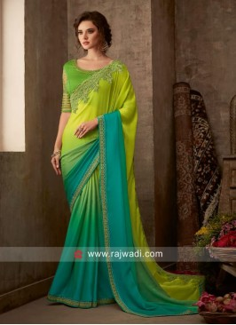 Border Work Designer Shaded Saree
