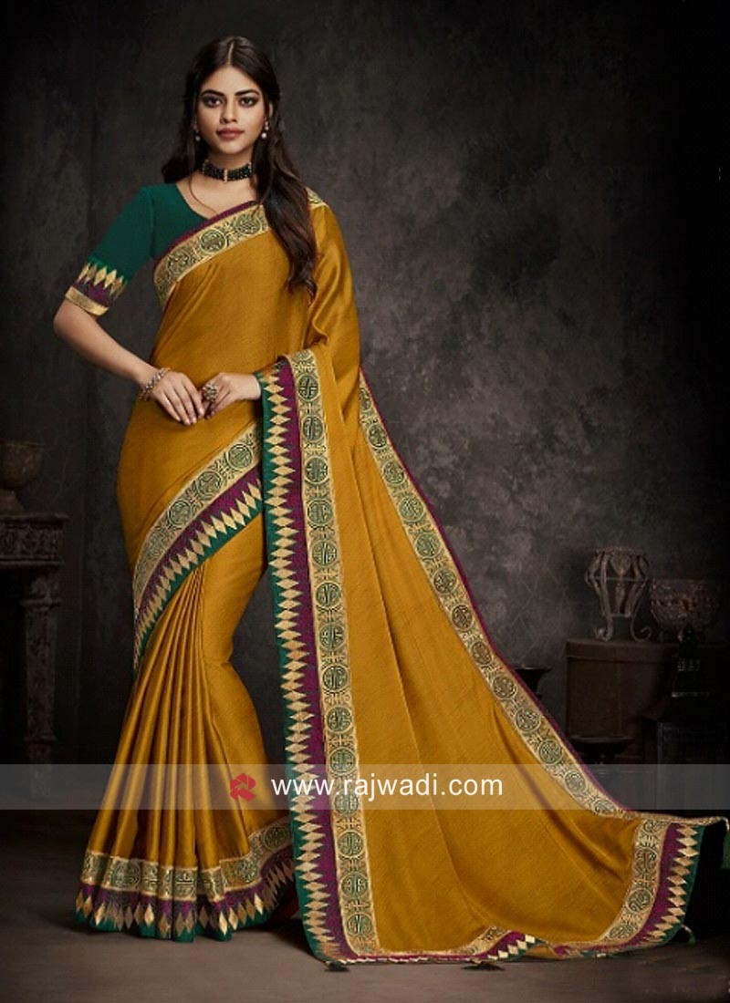 Border Work Golden Yellow Saree