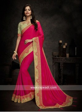 Border Work Saree for Reception