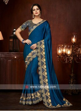 Border Work Saree in Blue