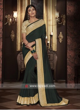 Border Work Saree in Bottle Green