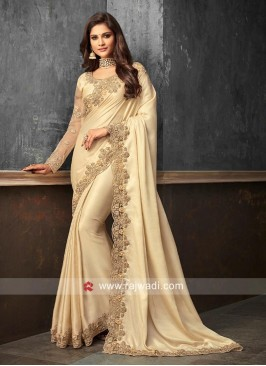 Border Work Saree in Golden Cream