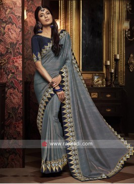 Border Work Saree in Grey