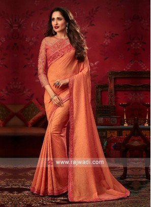 Border Work Saree in Orange