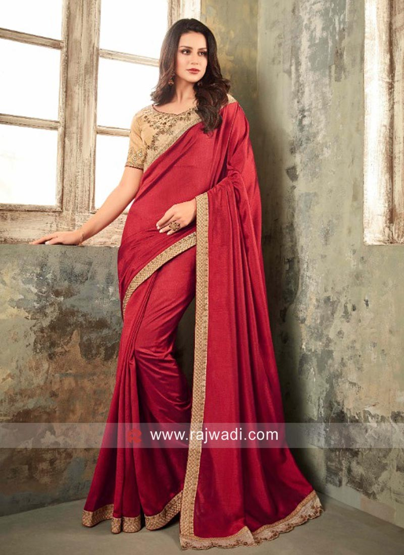 Border Work Saree with Contrast Blouse