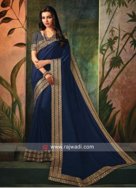 Border Work Sari in Dark Blue