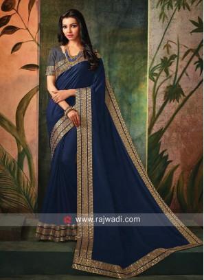 Border Work Sari in Dark Blue