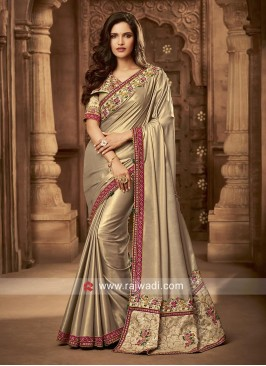 Border Work Shimmer Silk Saree