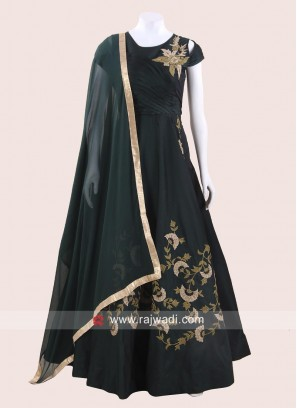 Bottle Green Anarkali Suit with Pleated Bodice