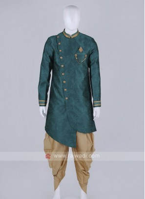 bottle green and golden patiala suit