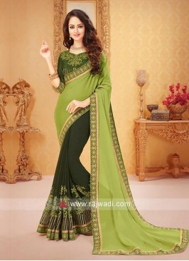 Bottle Green and Light Green Half Saree