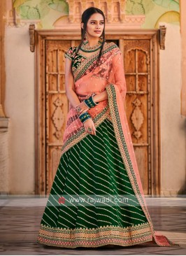 Bottle Green And Peach Lehenga Choli