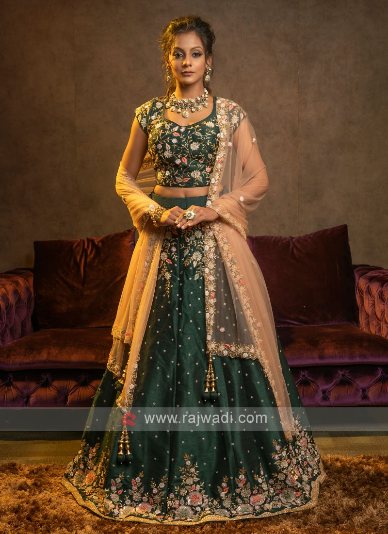 Bottle Green And Peach Lehenga Choli Suit