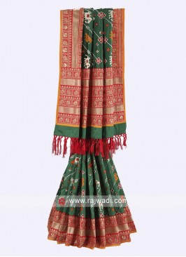 Bottle green and red art silk saree