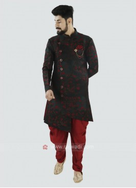 Bottle Green And Red Patiala Suit