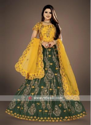 bottle green and yellow lehenga choli suit