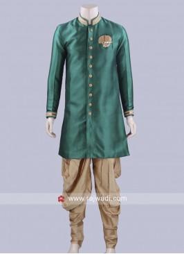 Bottle Green Art Silk Patiala Suit