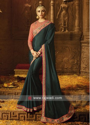 Bottle Green Border Work Saree