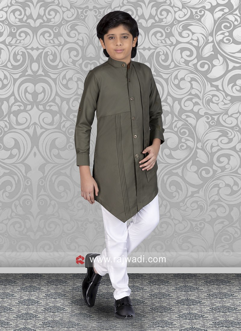 Green Boys Kurta Set