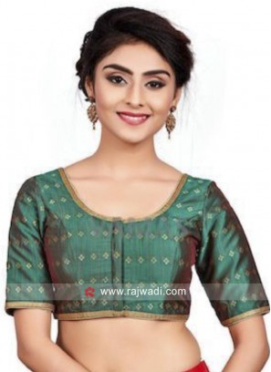 Bottle Green Brocade Sari Blouse