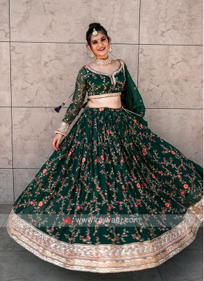 Bottle Green Chiffon Lehenga Choli
