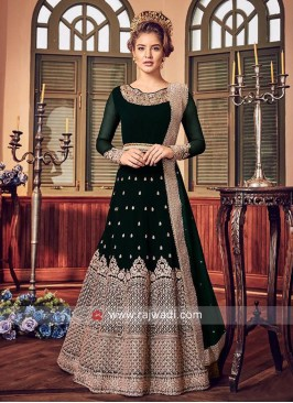 Bottle green Chiffon Salwar Suit