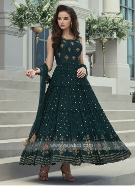 Bottle green color anarkali suit
