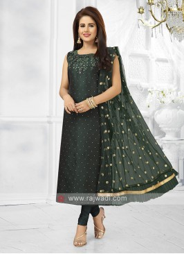 bottle green color churidar suit