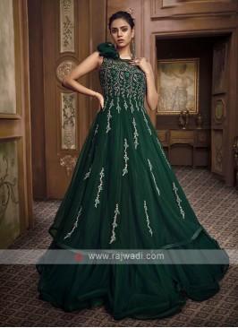 bottle green color designer gown