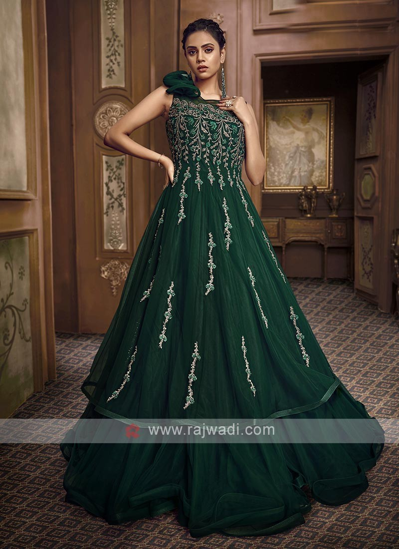 bottle green color designer gown