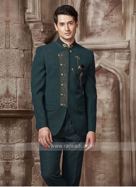 Bottle Green Color Jodhpuri Suit