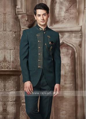 Bottle Green Color Jodhpuri Suit