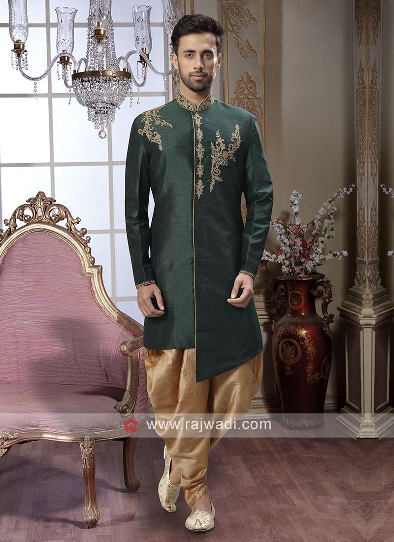Bottle Green Color Mens Patiala Suit