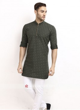 bottle green color printed kurta