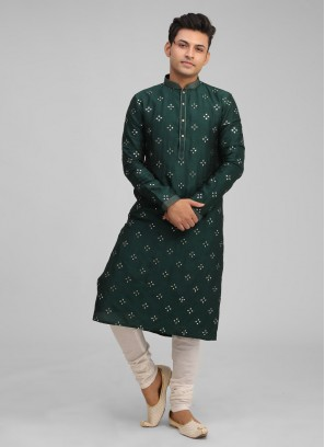 Bottle Green Color Raw Silk Kurta Pajama